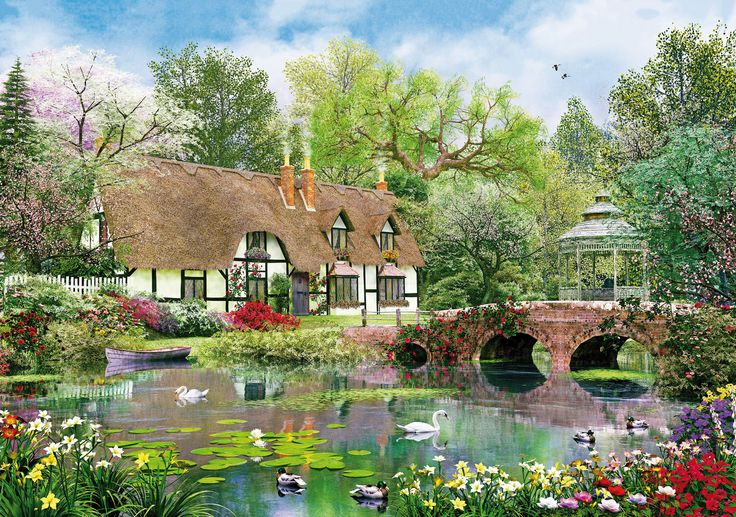 A serene and peaceful setting erupting with colour created by popular artist Dominic Davison, this adult jigsaw puzzle makes a great gift for lovers of flora and fauna.