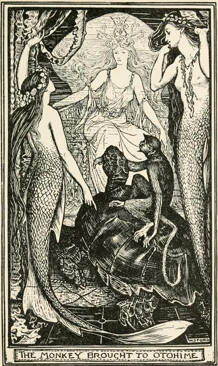The Violet Fairy Book.  Illustrations by Henry Justice Ford    The monkey brought to Otohime.