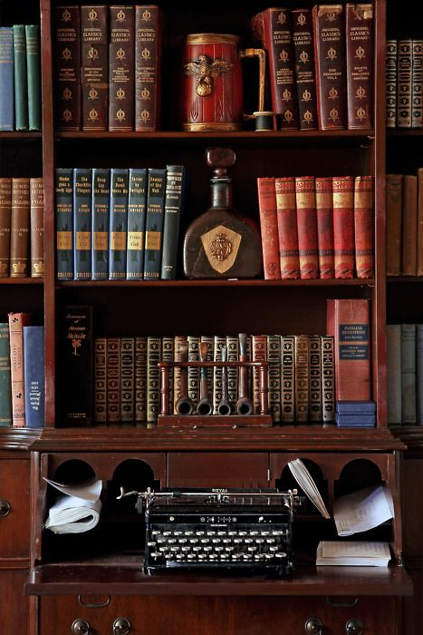 Library - A place for your single malt, collection of leather bound books. The place to smoke your pipe whilst penning your latest adventures on the typewriter.: Vintage Types, Books, Old Typewriters, Offices, Old Libraries, Shelves, Writing Spaces, Vintage Typewriters, London England