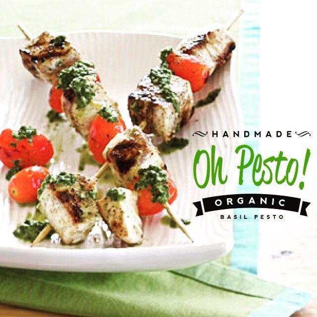 OhPesto.com TUNA STEAK SKEWERS WITH PESTO AND CHERRY TOMATOES - These delicious bites are simple to make and so flavorful with my @ohpesto basil pesto. Yum! - For more mouthwatering pesto ideas, follow our page: - @ohpesto   #OHPESTO #organic #basil #pesto #pestosauce #lunch #dinner #snack #food #healthy #fit #meal #yummy #dinnerideas
