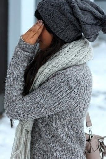 can't wait for cooler weather!Winter Hats And Scarves, Cosy Grey, Colors Grey, Cozy Winter, Grey Sweater, Grey Knits, Cozy Grey, Comfy Gray, Comfy Cozy