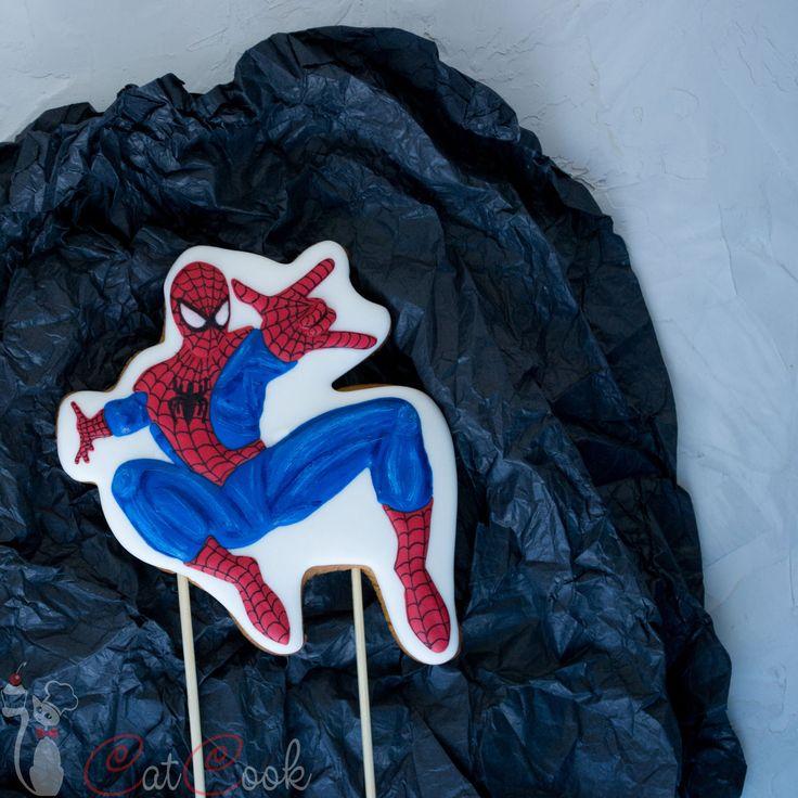 Купить Человек-паук - медовые пряники топпер на торт - пряник, медовый пряник, имбирный пряник