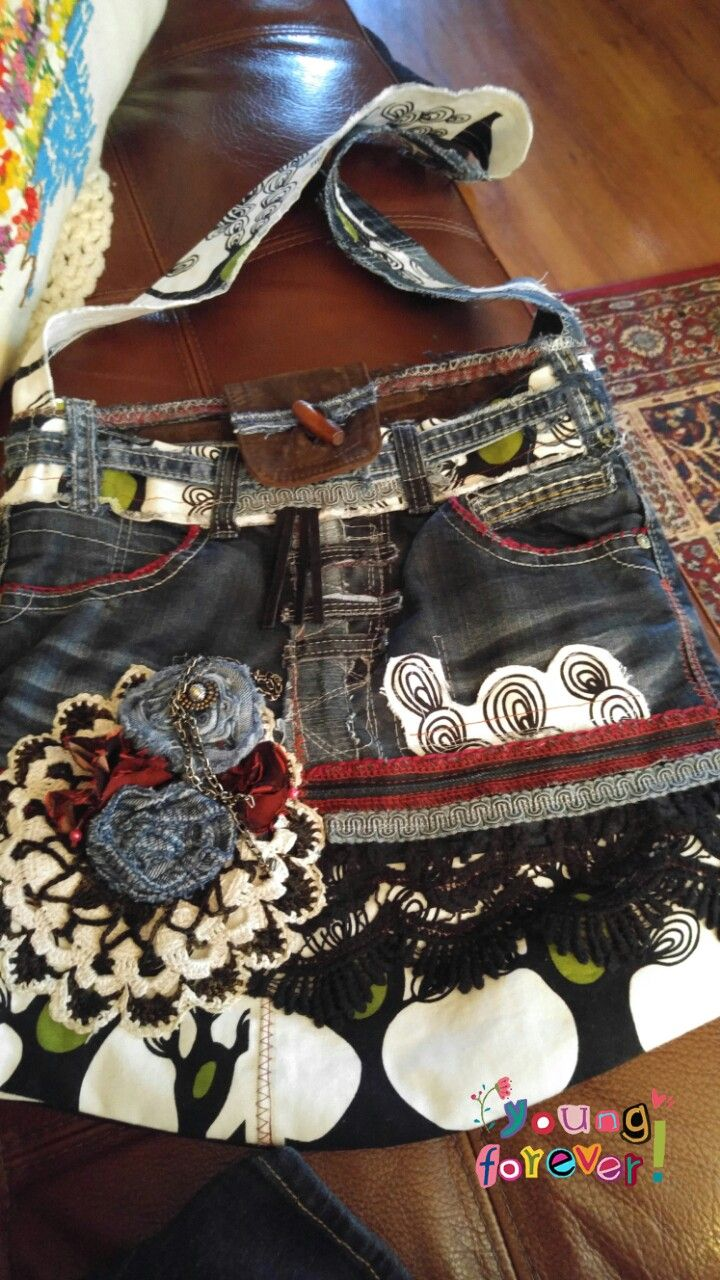 My creation.dollies .Jeans .Ikea fabric.Chains.Suede.etc....