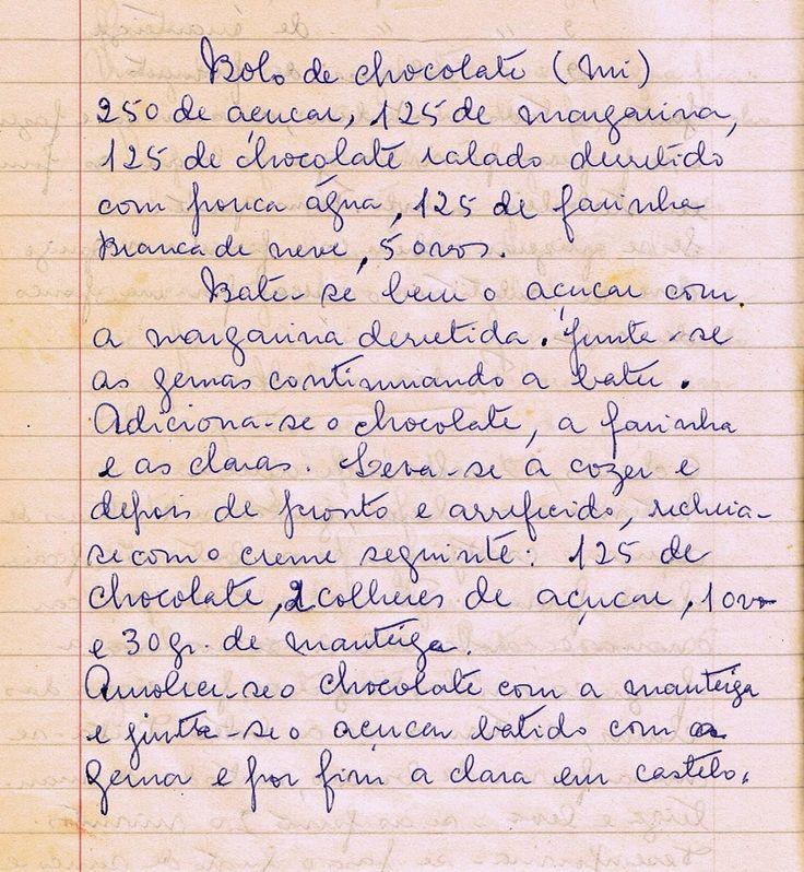 Bolo de Chocolate (Tia Mi)   250 de açúcar, 125 de margarina, 125 de chocolate ralado derretido com pouca água, 125 de farinha Branca de ...