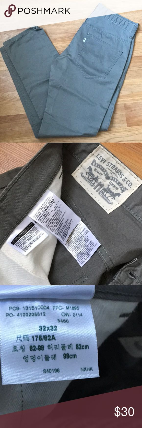 Levi's Men's Khakis size 32 x 32 These are brand-new, unused condition light green/gray Levi's khaki pants, size 32 x 32. Smoke free, pet free home. Feel free to make an offer or ask questions! Levi's Jeans