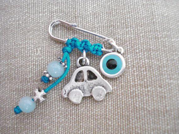 Baby boy pin Baby safety pin Cross charm pin Stroller by Poppyg