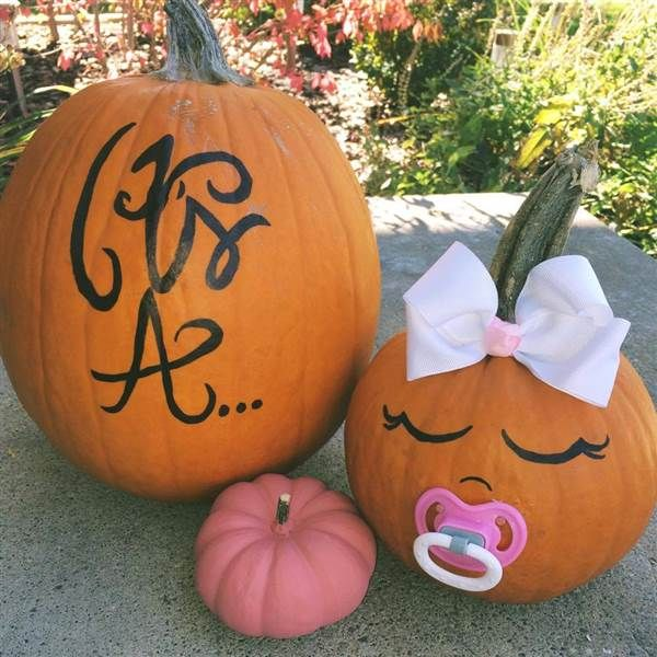 How cute is this baby girl pumpkin?