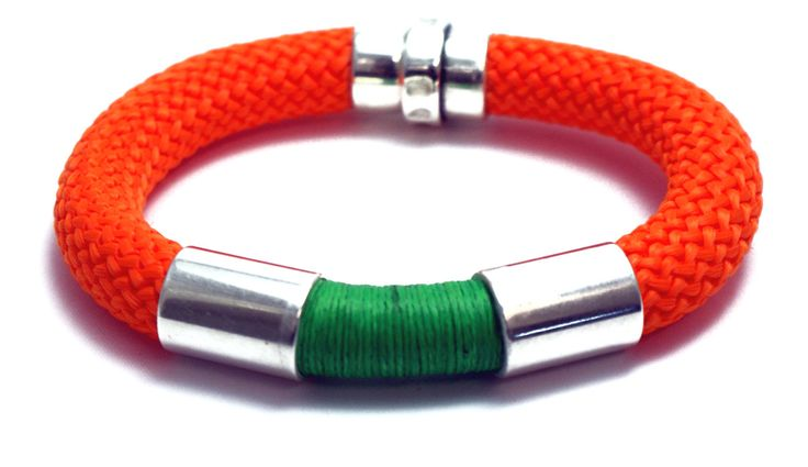 Handmade Trendy orange green Climbing cord bracelet with silver plated elements and magnetic clasp, cord bracelet, jewelry by Tmlccreations on Etsy