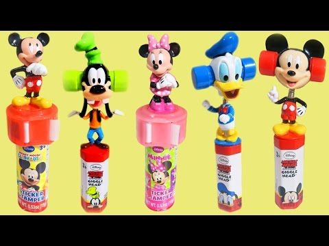 Disney Mickey Mouse Minnie Mouse Goofy Donald Duck Giggle Heads Candy Stamps & Stickers! - YouTube