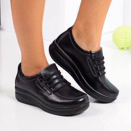 Pantofi dama Piele Aldina negri casual