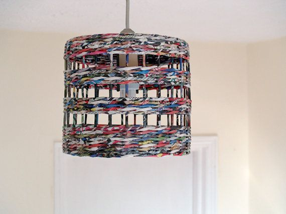 Upcycled paper lampshade * hand weaved * by BluReco https://www.facebook.com/BluReco