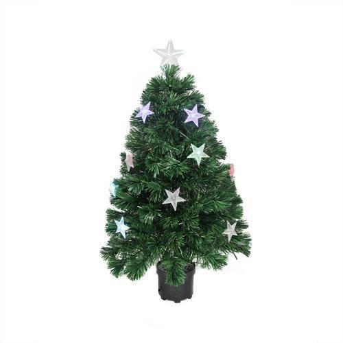 3' Pre-Lit LED Color Changing Fiber Optic Christmas Tree with Stars