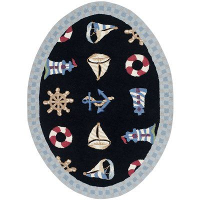 "Breakwater Bay Eldridge Black / Blue Marina Novelty Area Rug Rug Size: Oval 4'6"" x 6'6"""