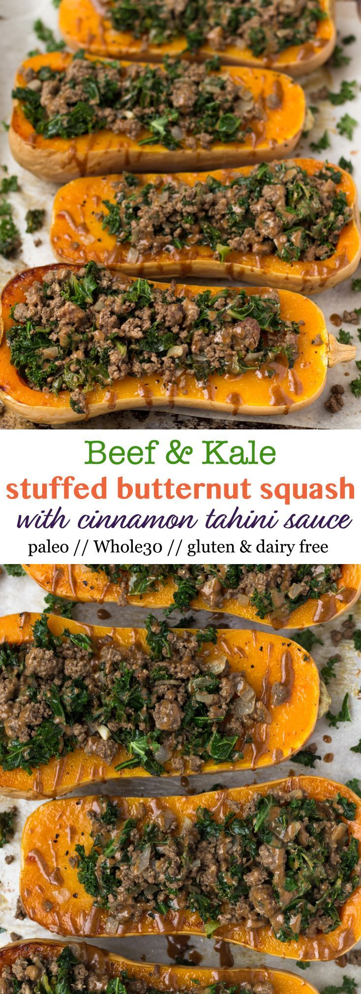 An easy and healthy fall meal, this Kale & Beef Stuffed Butternut Squash with Cinnamon Tahini Sauce is packed with protein, carbs, and healthy fats and is paleo, gluten free, and Whole30 approved! - Eat the Gains via @eatthegains