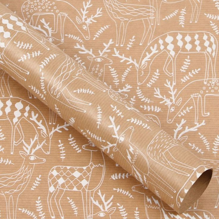 Kraft reindeer 3m roll wrapping paper