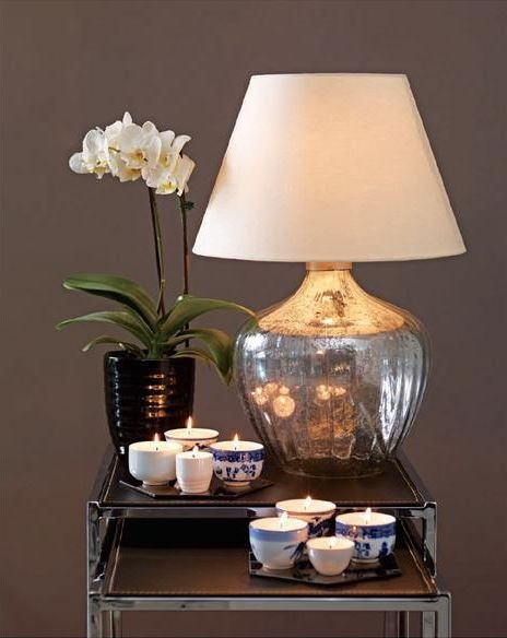 - i love the idea of having nesting tables for a bedside  Mercury glass lamp DIY