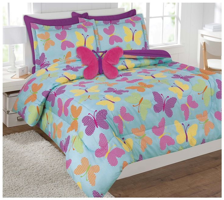 Twin Size 6 Pieces Reversible Printed Butterfly Microfiber