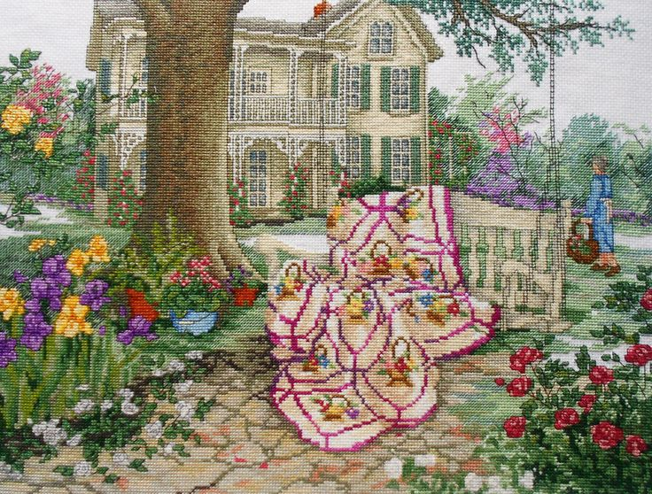 Exquisite Finished Completed Counted Cross Stitch Picture - SUMMER BREEZE Mansion Garden Quilt - Paula Vaughan Vaughn. $149.75, via Etsy.