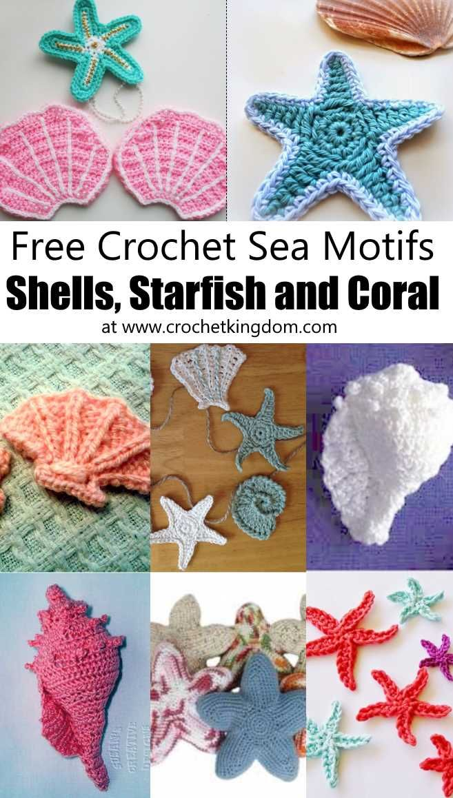Crochet Sea Motifs - Shells, Starfish and Coral. Free crochet patterns for sea shells, star fish, conch shells, clam shells and more! Free crochet marine appliques.