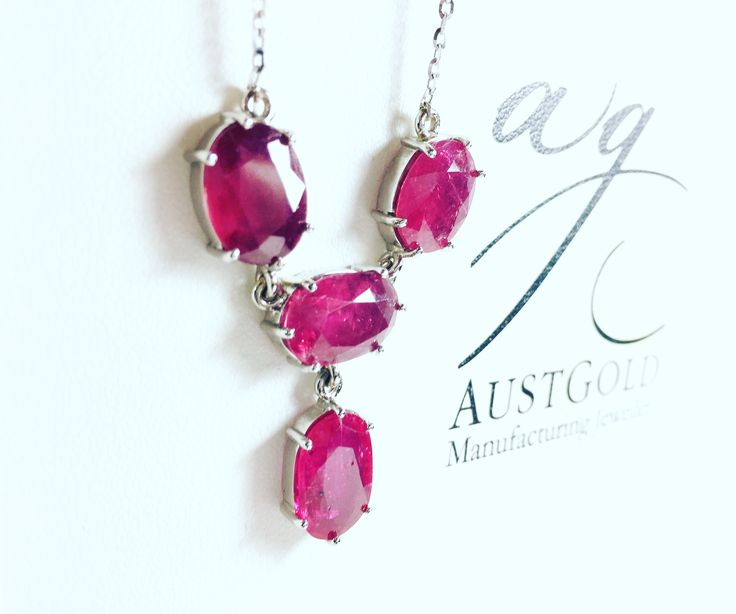 Ruby and white gold necklace
