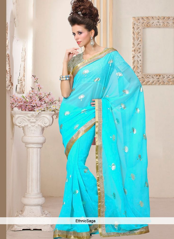 Rosy Turquoise Georgette Lace Work saree