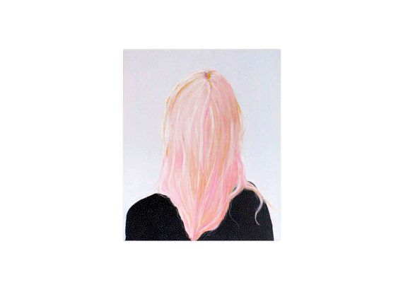 Print van Schilderij Portret Vrouw Pastel Roze Haar door PIETenKEES