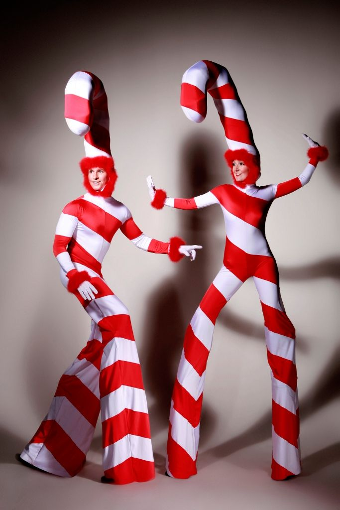Candy Cane Stilts. Big Foot Events.
