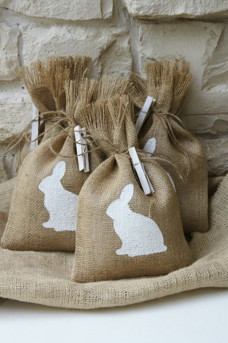 Burlap Gift Bags or Treat Bags, Easter, Birthday Party, Baby Shower, Shabby Chic Gift Wraping, Burlap and Hand Painted Bunny. $17.00, via Etsy.---tins with bunny silhouette