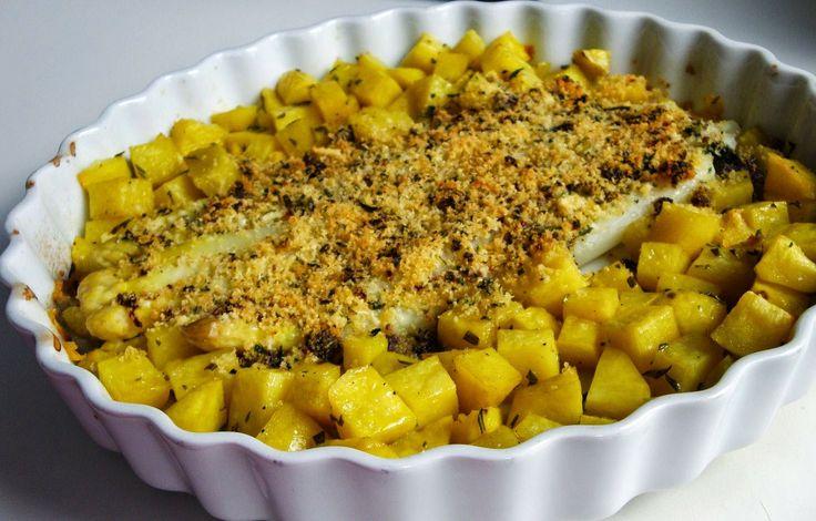Spargel mit mediterraner Knusperkruste und Pommes rissolées aus dem Ofen