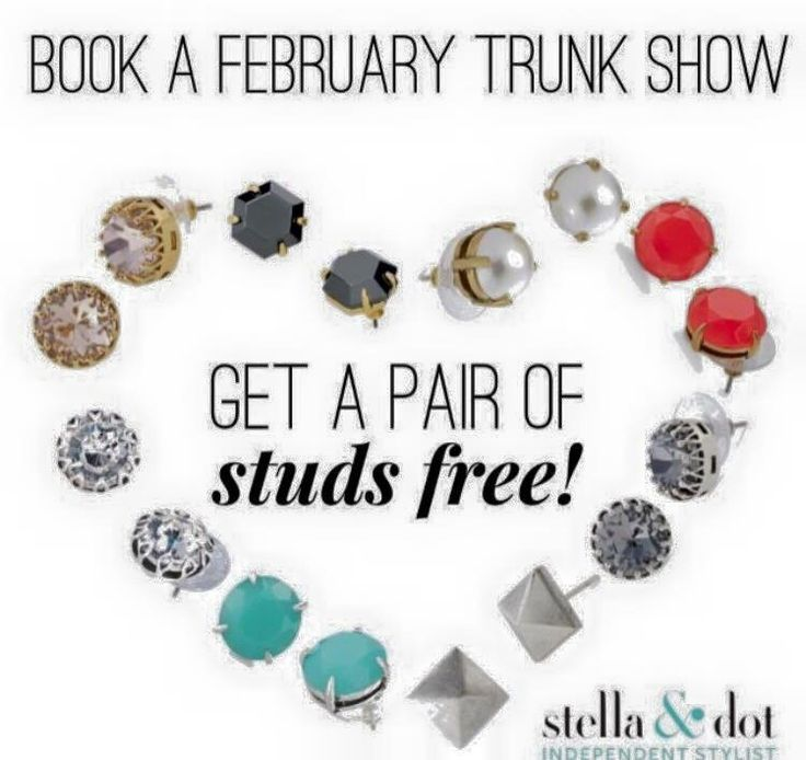 Book a trunk show this February and receive a free pair of studs!!! Book yours today! We have online trunk show options as well. Contact me for more info.