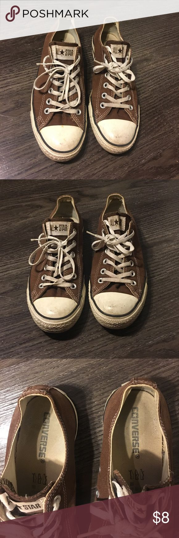 Brown converse shoes These are moderately used brown converse. Some wear on the soles tops and inside but these shoes shave a lot of life and will give you that stylistic edge. Converse Shoes Sneakers