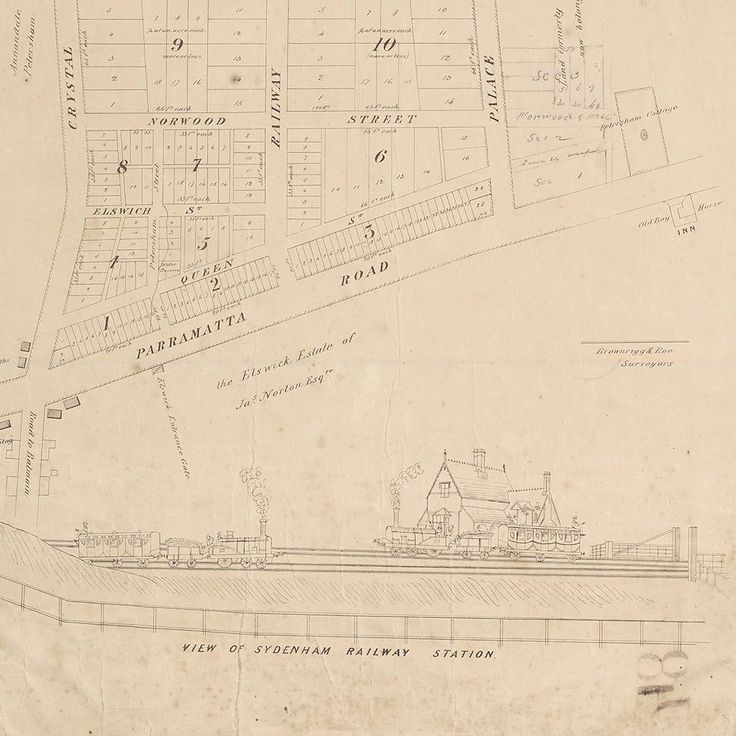 Detail from plan of Petersham (originally called Sydenham) showing railway station c1855 | The Dictionary of Sydney