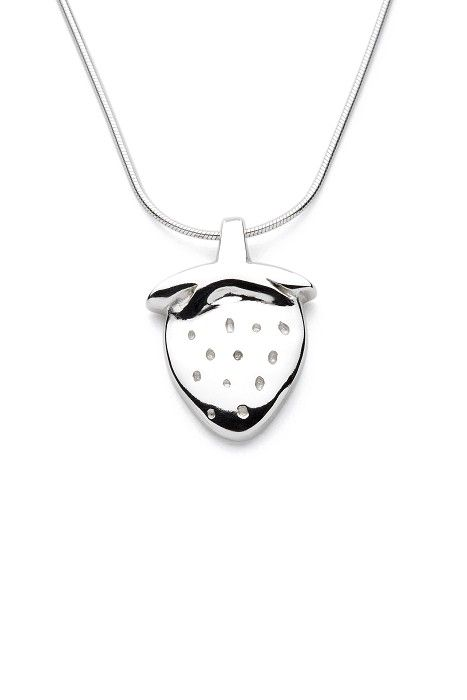 Strawberry - Handmade Sterling Silver Pendant with Snake Chain - by Purplefish Designs on madeit