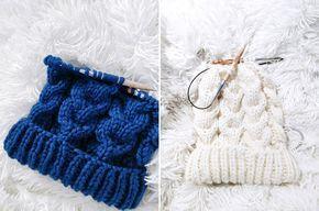 bonnet tricot laine hiver torsades tuto patron aiguilles circulaires