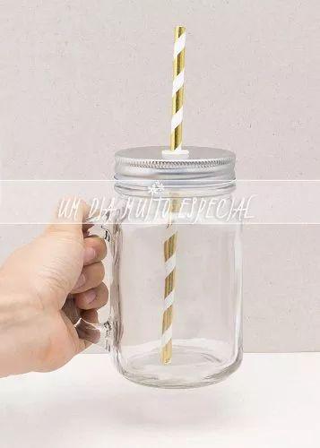 5 canecas jarra c/ tampa e canudo papel listrado dourado jar