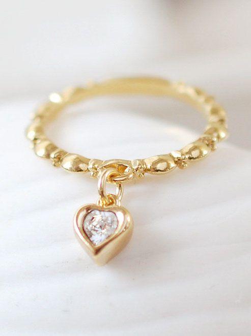 Swarovski Clear Crystal Gold Heart Ring