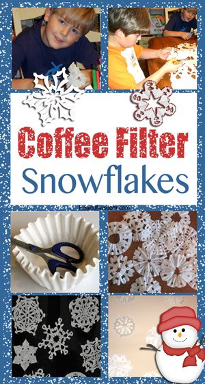 Will do this with twins this year. I remember making snowflakes with my mom as a kid. :) Coffee Filter Snowflakes