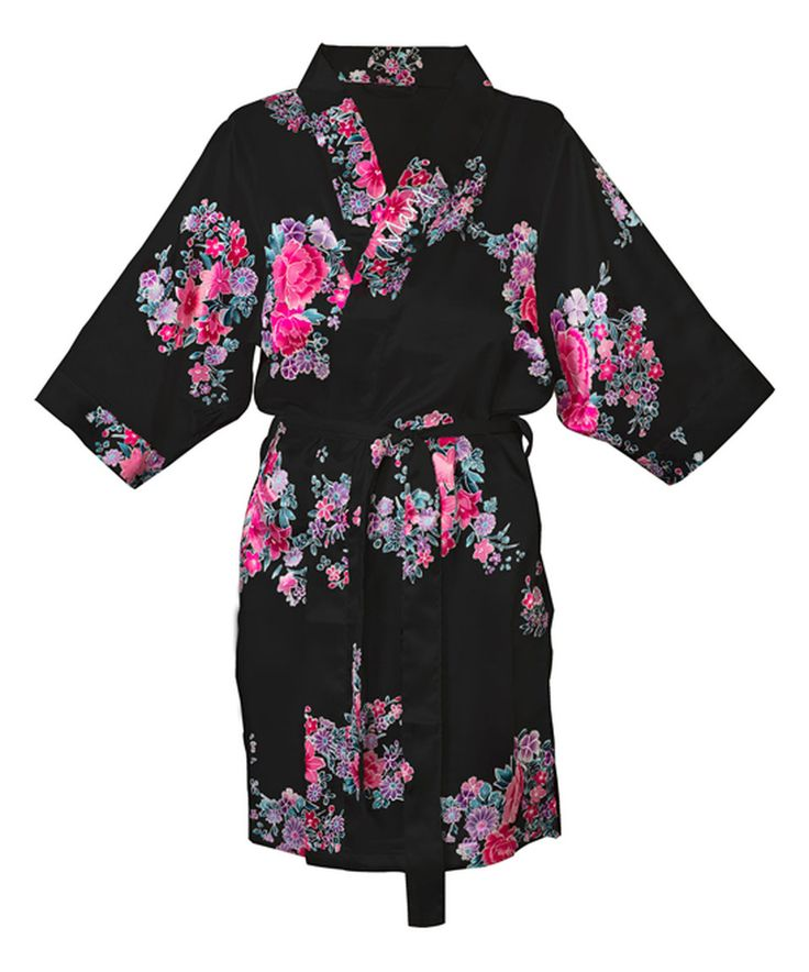 Look at this #zulilyfind! Black Floral Personalized Satin Robe - Women by Cathy's Concepts #zulilyfinds