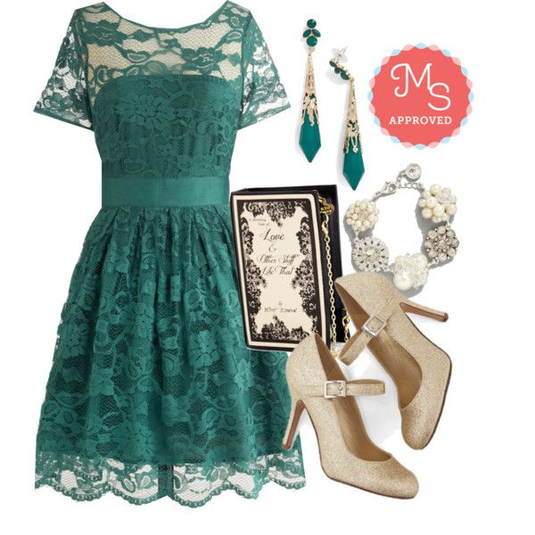 In this outfit: Adrift on a Cloud Dress in Emerald, Chapter by Chapter Clutch, Verdant It Be Lovely? Earrings, A Sparkling Occasion New Heirloom Bracelet, Yes I Candescent Heel in Gold #specialoccasion #party #emerald #jeweltone #gold #elegant #regal