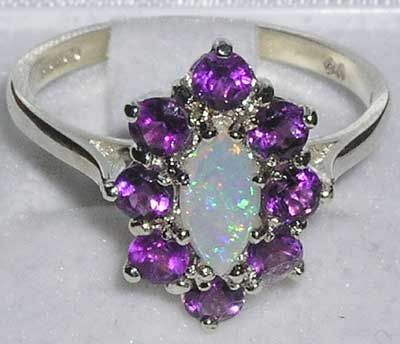 English 9K White Gold Natural Marquise Colourful Opal & Amethyst Cluster Flower Ring- Made in England-Customize:9K,14K,18K,Yellow,Rose,White