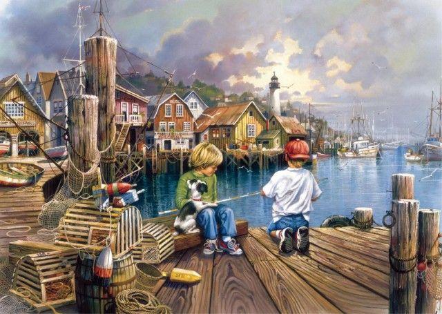 Fishing by the Sea (3x 500 stukjes) Jumbo/Falcon bij Puzzlestore.nl