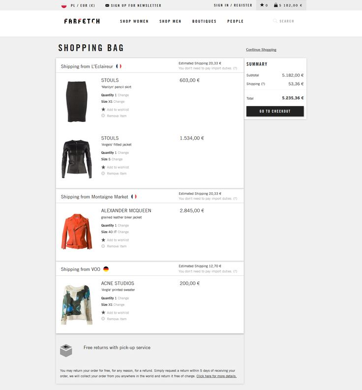 #UI #ecommerce #shoppingbag shopping bag www.farfetch.com