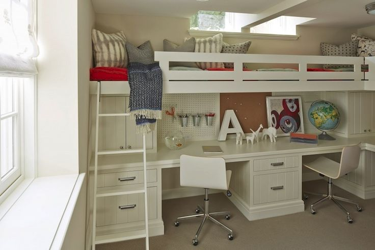 bunk bed with double desk undearneath