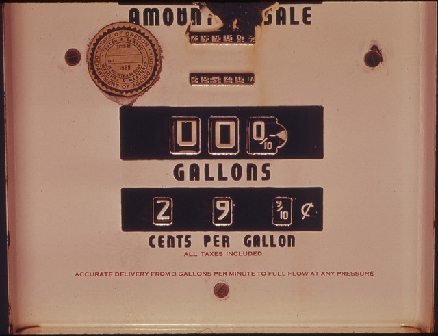 Abandoned Gasoline Pump with a Price of 29.9 Cents Per Gallon.  Photographed on 04/1974.: Remember, Gallon, 29 9 Cents, Gasoline Pump, Photo, Gas Pumps