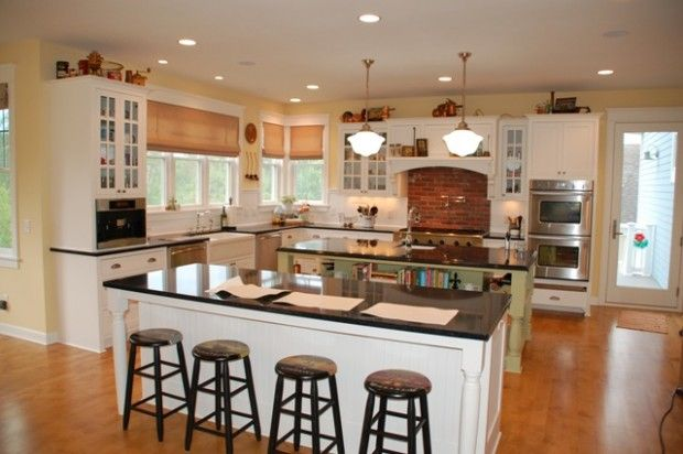 Double Island Kitchen House Plans Backsplash Classic