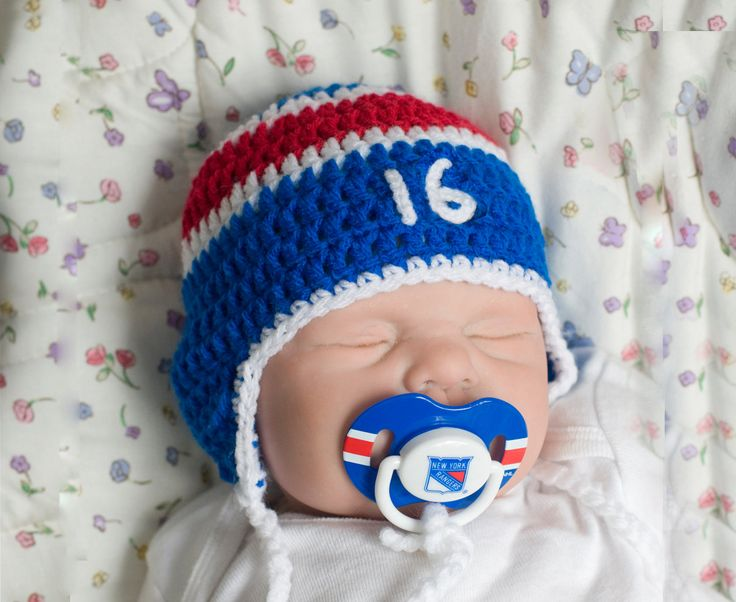 BABY HOCKEY HAT New York Rangers pacifier not included, Hockey Baby Crochet, Knit Red White Blue, Baby Boy Hockey Hat, Baby Hockey Knit Hat by Grandmabilt on Etsy
