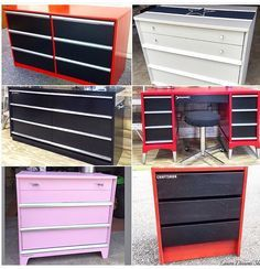 """I turned these plain dressers into a little boys and girls craftsman tool box dresser. """"Snap on"""" dresser with black draws and silver handles. Pink tool box dresser and tool box nightstand Tool Box Dresser Race Or Car Dresser www.Etsy.com/shop/lauradesignsshop"""