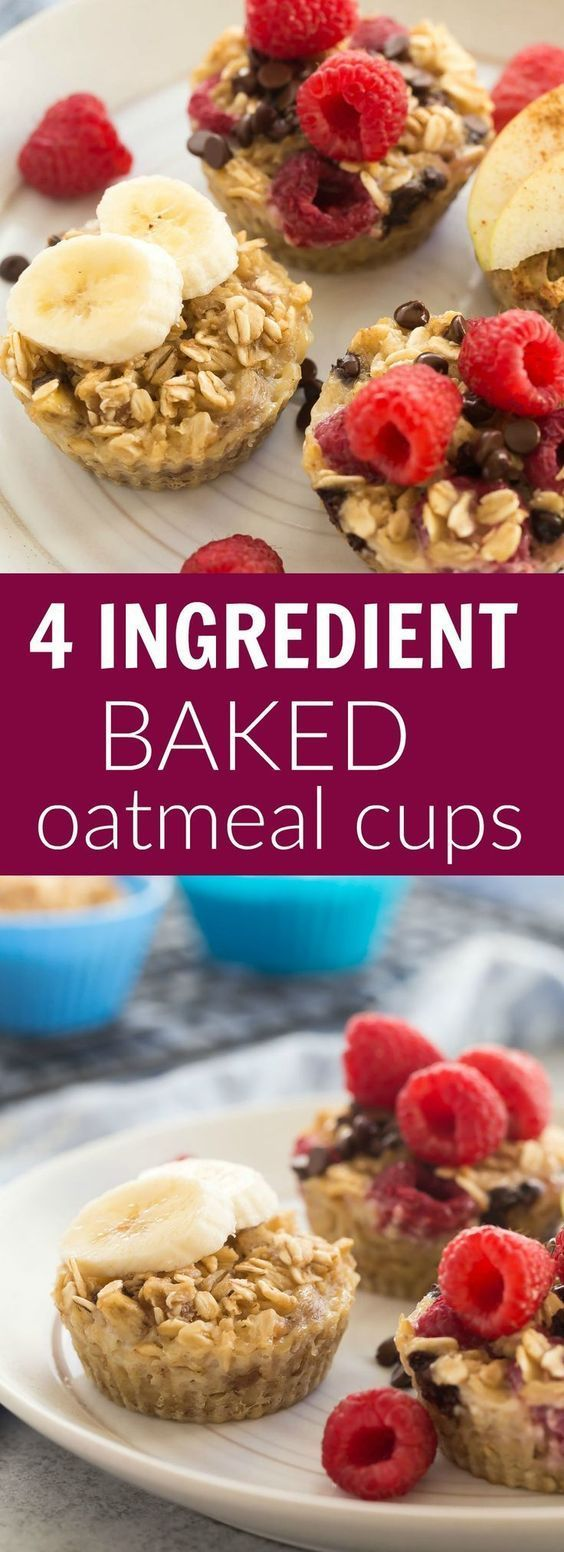 These easy baked oatmeal cups use only FOUR basic ingredients and they're perfect for breakfast, school lunches or snacks! Naturally sweetened, packed with protein, make ahead and freezer friendly with 3 different variations: raspberry chocolate chip, peanut butter banana and apple cinnamon.