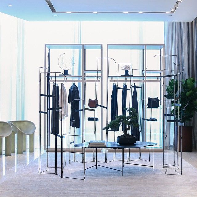 #LCxTheRow - Our renovated ifc store is showcasing this amazing new space of @TheRow. It is filled with the brand's beautiful #AW15 new collections, along with valuable art pieces and installations, including Studio Toogood Ltd's dining chairs in milky translucent fibreglass hue, as well as Peter Marigold x OYUNA's delicate installation built from blackened raw steel, which brings timeless elegance