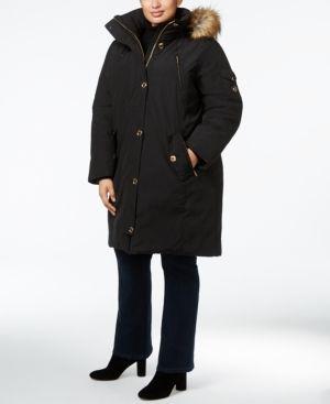 Michael Michael Kors Plus Size Faux-Fur-Trim Puffer Coat - Black 2X